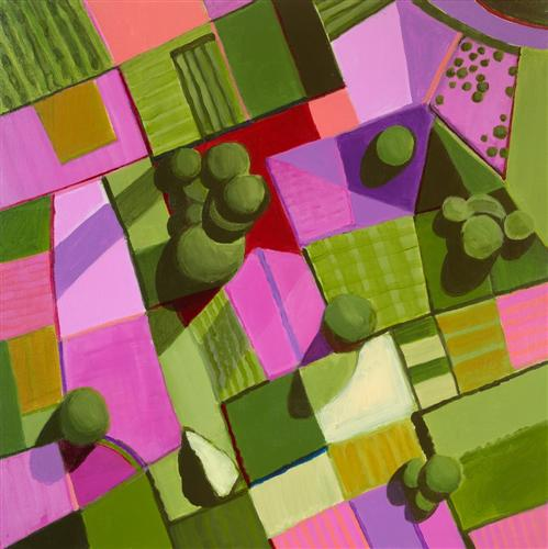 Original art for sale at UGallery.com | Pink and Green Fields by Toni Silber-Delerive | $1,650 | acrylic painting | 24' h x 24' w | http://www.ugallery.com/acrylic-painting-pink-and-green-fields