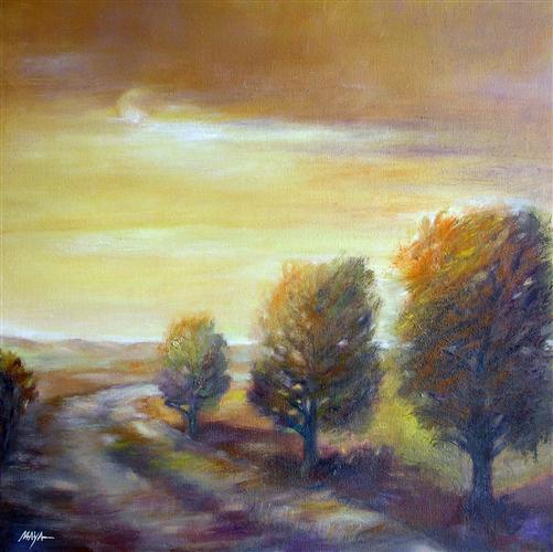 landscape art,nature art, oil painting, Amber Sunset