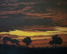 landscape art,nature art,acrylic painting,Cottonwood Silhouettes