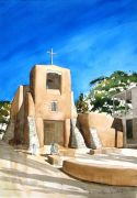 Architecture art,Western art,watercolor painting,San Miguel Mission