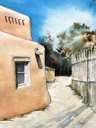 buildings art,western art,watercolor painting,Santa Fe Backyard