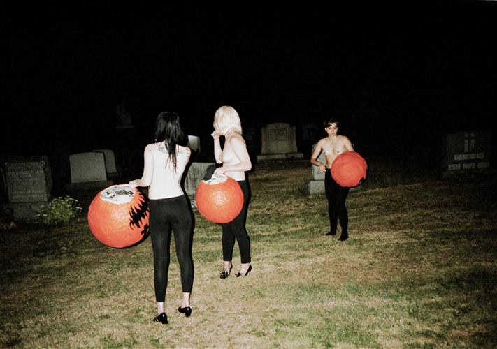 Original art for sale at UGallery.com | Pumpkin Heads (Grave Yard Girls) by Dana Lauren Goldstein | $425 | photography | 24' h x 16' w | http://www.ugallery.com/photography-pumpkin-heads-grave-yard-girls