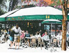 buildings art,ink artwork,Les Deux Magots, Paris