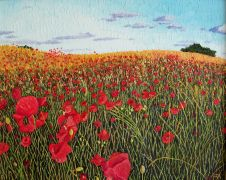 landscape art,botanical art,oil painting,Field of Poppies