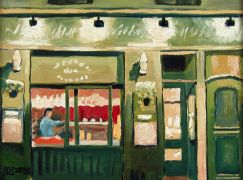 buildings art,impressionism art,oil painting,Cafe In The Latin Quarter