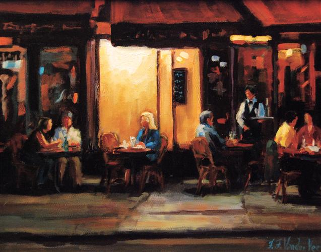 impressionism art,people art,travel art, oil painting, Table Talk