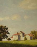 impressionism art,landscape art,oil painting,Farm in Early Summer