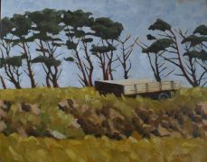 impressionism art,landscape art,oil painting,Irish Farm Cart