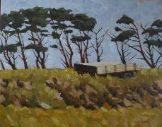 impressionism art,landscape art,oil painting,Irish Farm Cart