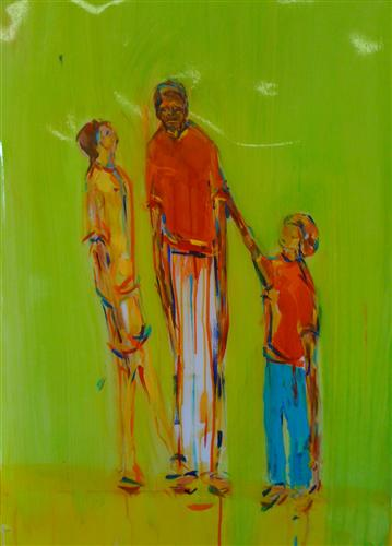 Original art for sale at UGallery.com | Just the Three of Us by Kate Fauvell | $650 | acrylic painting | 26' h x 24' w | http://www.ugallery.com/acrylic-painting-just-the-three-of-us