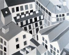 buildings art,city art,acrylic painting,French Buildings