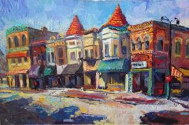 buildings art,impressionism art,oil painting,Sunny Day in Town (Dekalb)