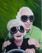 people art,acrylic painting,Speeding Older Couple
