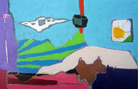 Surrealism art,mixed media artwork,Blue and Sun