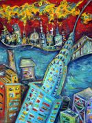 buildings art,expressionism art,acrylic painting,Chrysler Building
