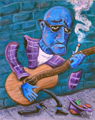 people art, acrylic painting, Po' Man's Blues