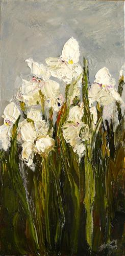 impressionism art,botanical art, oil painting, White Irises