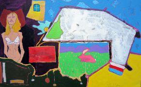 People art,Surrealism art,mixed media artwork,The Pink Bunny