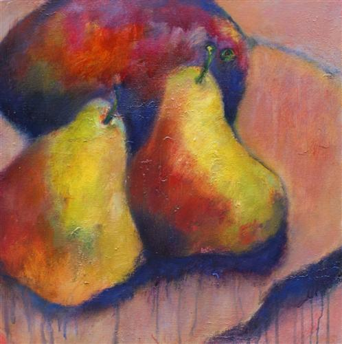 Original art for sale at UGallery.com | Two Pears and A Mango by Gary Fisher | $1,150 | oil painting | 20' h x 20' w | http://www.ugallery.com/oil-painting-two-pears-and-a-mango