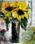 impressionism art,botanical art,oil painting,Tall Black Vase