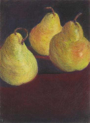 still life art, pastel artwork, Trio of Pears