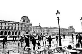 Architecture art,Travel art,photography,Rainy Day at the Louvre