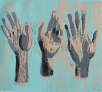 people art,printmaking,Blue Printed Hands