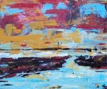 Abstract art,Seascape art,acrylic painting,River Run 2