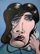 people art,acrylic painting,Sad Movie Woman
