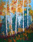 Impressionism art,Nature art,oil painting,Aspen Charmer