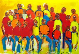 expressionism art,people art,acrylic painting,The Spectators