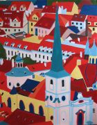 Architecture art,acrylic painting,Prague City