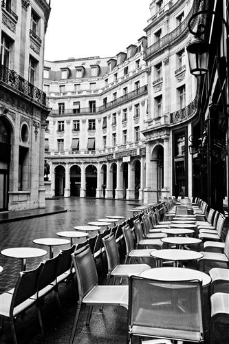 Original art for sale at UGallery.com | Paris Cafe in The Rain by Rebecca Plotnick | $250 | photography | 36' h x 24' w | ..\art\photography-Paris-Cafe-in-The-Rain-21174