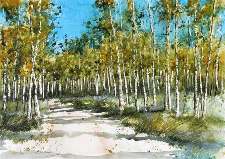 landscape art,nature art,botanical art, watercolor painting, Aspen Trail