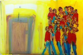 expressionism art,people art,acrylic painting,Watching the Throne