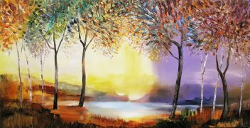 expressionism art,fantasy art,landscape art,acrylic painting,October