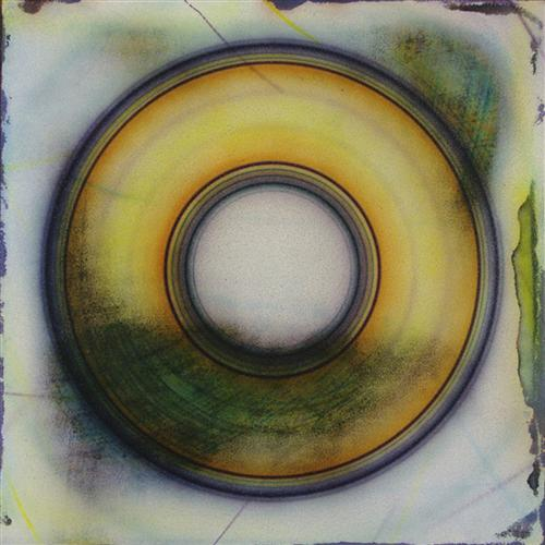abstract art, mixed media artwork, Yellow Disc
