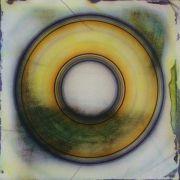 abstract art,mixed media artwork,Yellow Disc