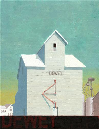 buildings art, acrylic painting, Dewey Grain Elevator