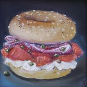 still life art,oil painting,Lox and Bagel