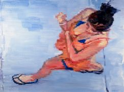 impressionism art,people art,oil painting,Girl Wearing Bikini Coverup Walking On Santa Cruz Boardwalk