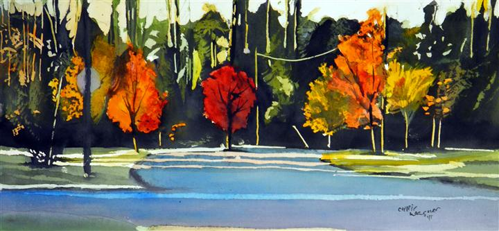 impressionism art,nature art,botanical art, watercolor painting, Fall Trees