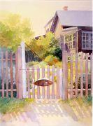 Architecture art,Impressionism art,watercolor painting,Fish Gate on Monhegan Island