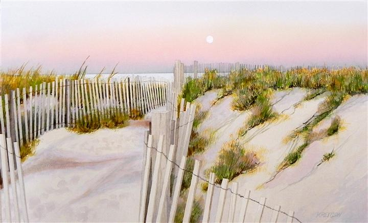 nature art,seascape art, watercolor painting, Moon Over 32nd St Dune Crossing