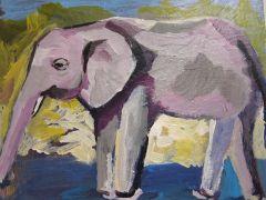 Animals art,acrylic painting,Study of Elephant