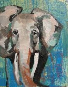 impressionism art,animals art,acrylic painting,Study Of Elephant Part II