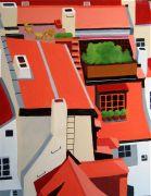 Architecture art,City art,acrylic painting,Czech Republic Rooftops