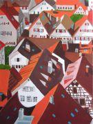 Architecture art,Travel art,acrylic painting,Bruges, Belgium