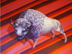 animals art,oil painting,Power Bison