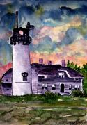 buildings art,watercolor painting,Chatham Lighthouse Martha's Vineyard
